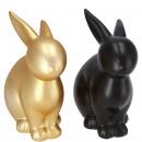 Ceramic bunny Django, 2 colors, H11.5cm, black / g